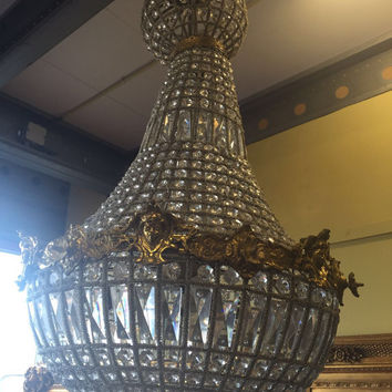 Woman Face Chandelier Large Antique French Head Caged Basket Brass Empire Bowl 3