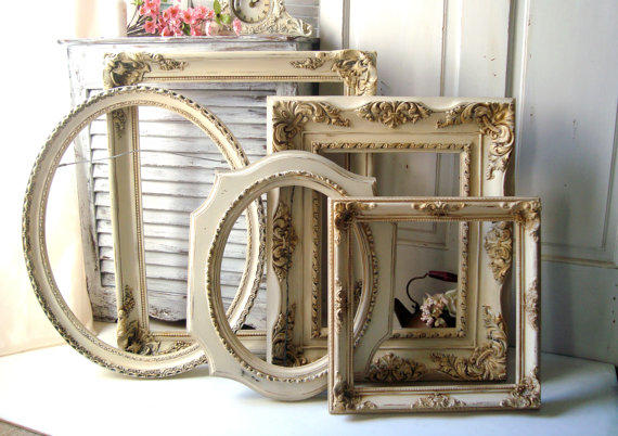 Large Antique Cream And Gold Vintage From WillowsEndCottage On