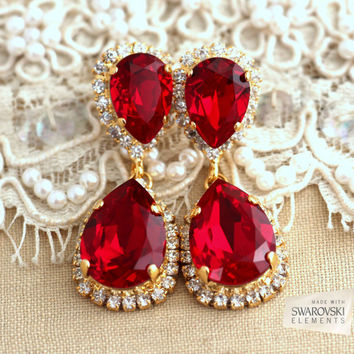 Red Ruby Chandelier Earrings Earnings Gold Dangle Bridal