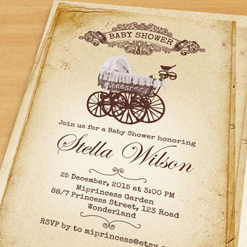 Vintage Carriage Baby Shower On Wanelo