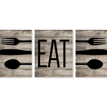 Eat Kitchen Wall Decor Vinyl Decal Large Fork And Spoon