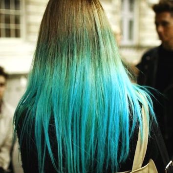 hair chalk electric blue temporary from salonchalks on etsy