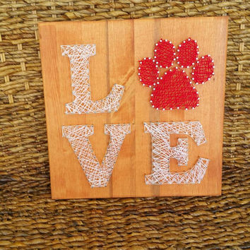 Animal Love String Art Sign Wood And Nail Puppy Paw Print Wall Hanging