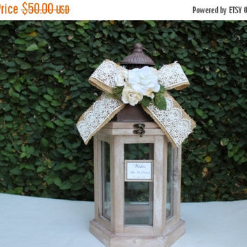 On Wedding Card Box Lantern Small Advice Wood Rustic Wishes