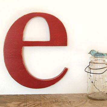 Wood Letters Custom Sign Modern Decor Lowercase E Typography Red Or You Choose Color