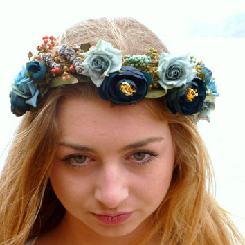 blue flower crown woodland wreath from blackswanfeather on etsy