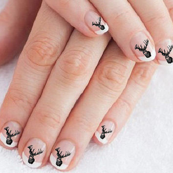 56 Buck Deer Nail Art Decals Color Or Black Transfers Design Body