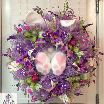 Easter Bunny Mesh Wreath With Plush Rabbit In Bright Colors