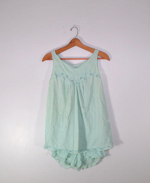 Vintage Lingerie Pajama Set Nightgown From Founditinatlanta On