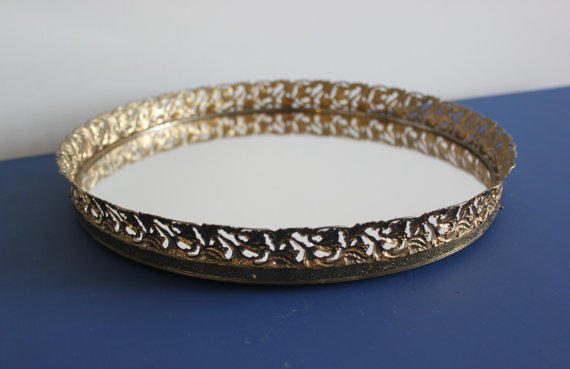 Vintage Gold Round Mirrored Vanity Tray, From Blue Wolf Home