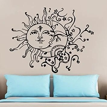 1pc Individuality Creative Moon And The Sun To Decorate Wall Stick Living Room Home Decor