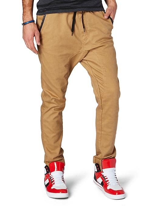 Khaki Faux Leather Trim Twill Jogger From Rue21 Pants
