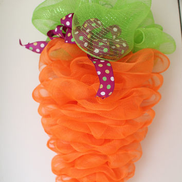 Easter Bunny Tail Lilac Ruffle Deco Mesh Wreath