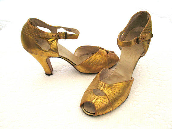 Vintage 20s GATSBY METALLIC GOLD Dance From