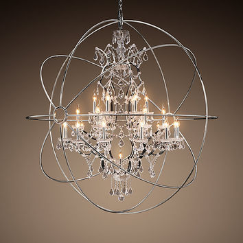 Foucault S Orb Crystal Chandelier Polished Nickel Extra Large