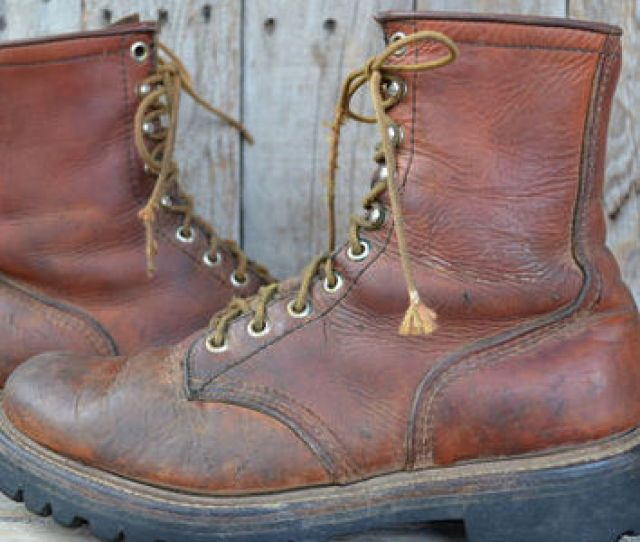 Vintage Red Wing Irish Setter Soft Toe Dog Tag Work Boots   D