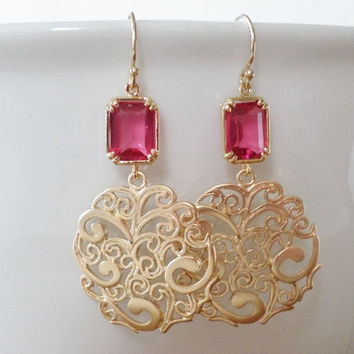 Garnet Earrings Ruby And Gold Chandelier Red