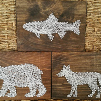 Set Of 3 Woodland Creatures String And Nail Art Signs Baby Boy Nursery Decor