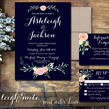 Printable Wedding Invitation Navy Invitations With Fl Hand Painted Rustic