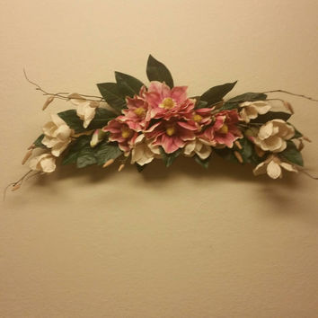 Silk floral wall swag. Pink and cream from ... on Decorative Wall Sconces For Flowers Arrangements id=92903