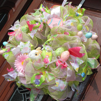 Deco Mesh Easter Bunny Wreath In Pink And Blue With Ears Feet
