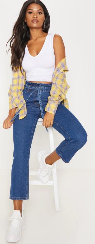 Dark Wash Straight Leg Paperbag Jean