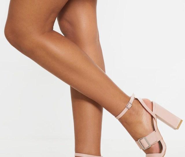 Nude Buckle Strap Block Heel Sandal