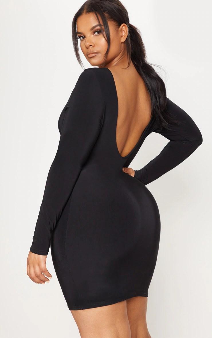 Plus Black Second Skin Slinky Scoop Back Bodycon Dress 2
