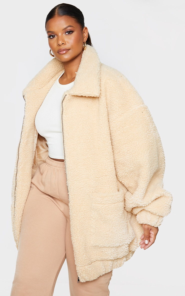Plus Camel Oversized Borg Pocket Front Coat $95.00 7