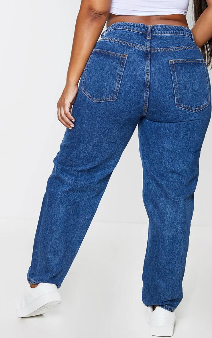 PRETTYLITTLETHING Plus Dark Blue Mom Jeans $48.00 9