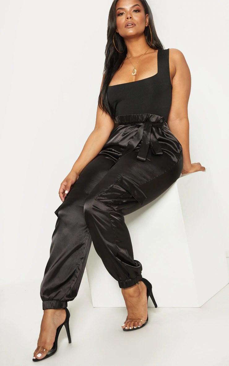 Plus Black Satin Cargo Pants 4