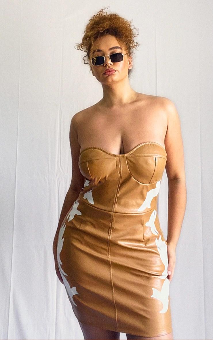 Plus Tan PU Western Bandeau Bodycon Dress 5