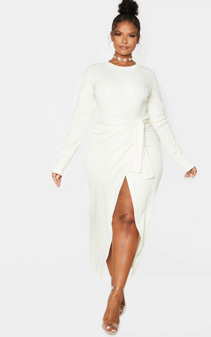 Plus Cream Thick Rib Tie Waist Wrap Midi Dress 4