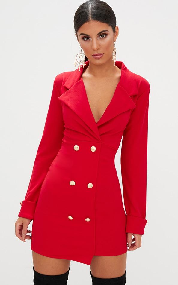 Red Gold Detail Button Blazer Dress
