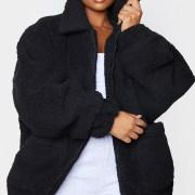 Plus Black Oversized Borg Pocket Front Coat .00