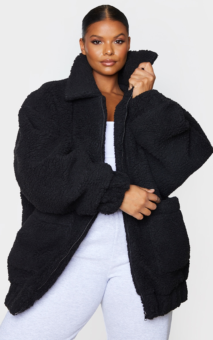 Plus Black Oversized Borg Pocket Front Coat $95.00 7