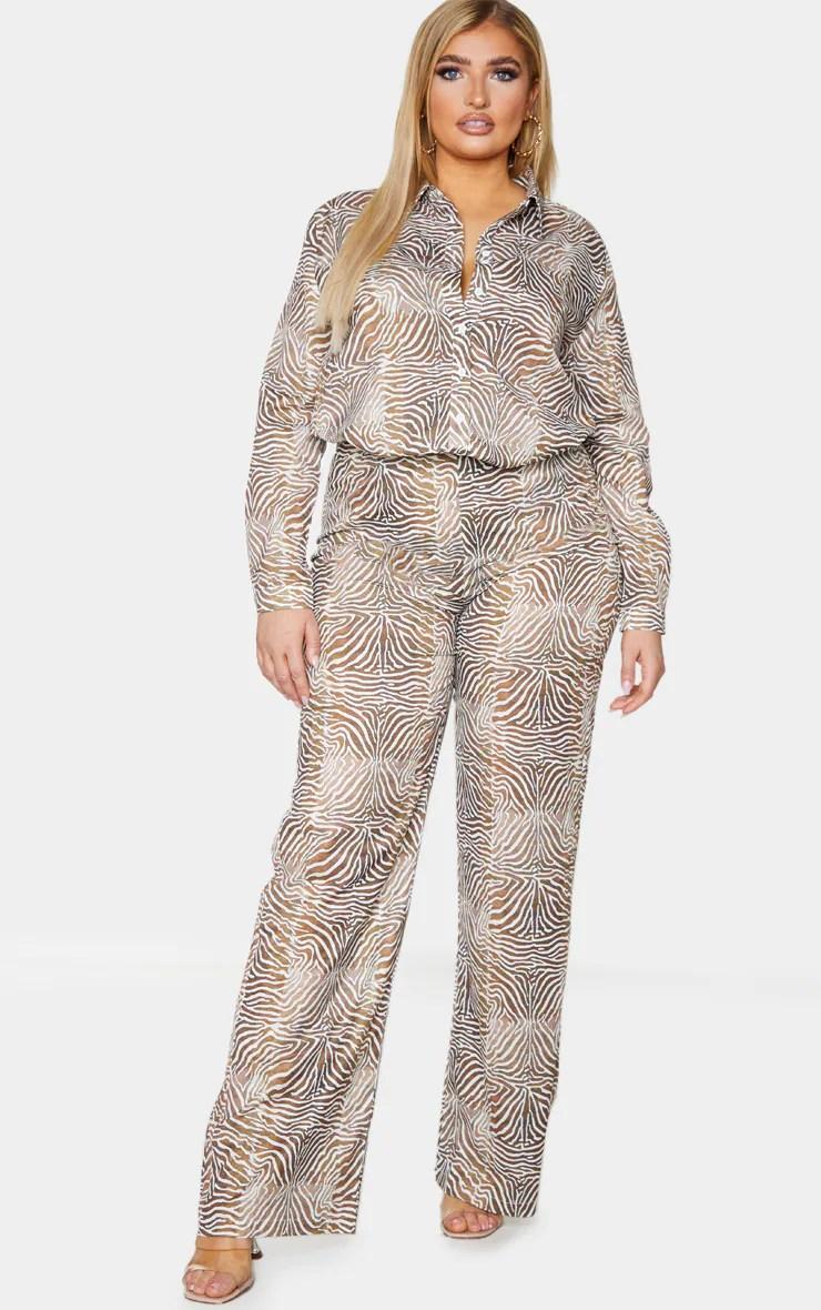 Plus Brown Zebra Printed Chiffon Wide Leg Pants 2