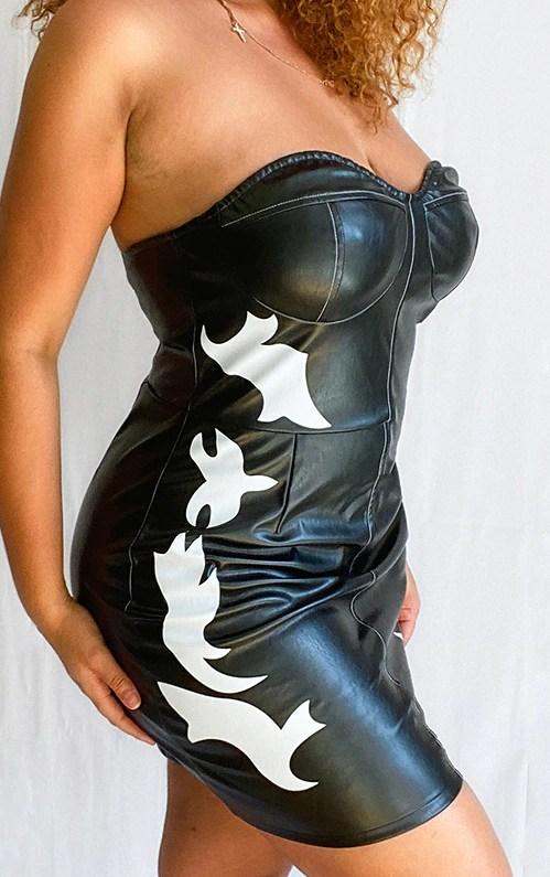 Plus Black PU Western Style Bandeau Bodycon Dress 6