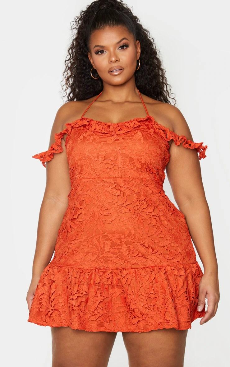 Plus Rust Lace Bardot Frill Hem Bodycon Dress 8