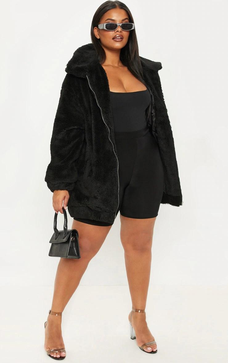 Plus Black Teddy Bomber Coat 4