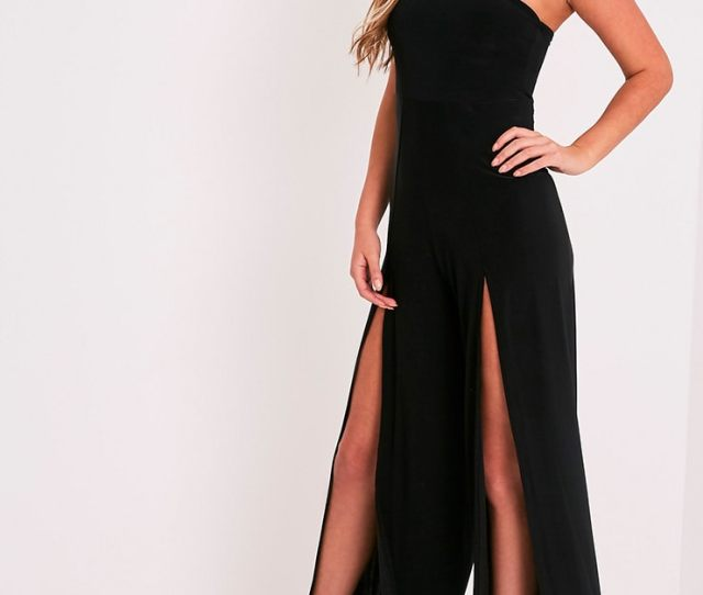 Tori Black Front Thigh High Split Slinky Bandeau Jumpsuit 1