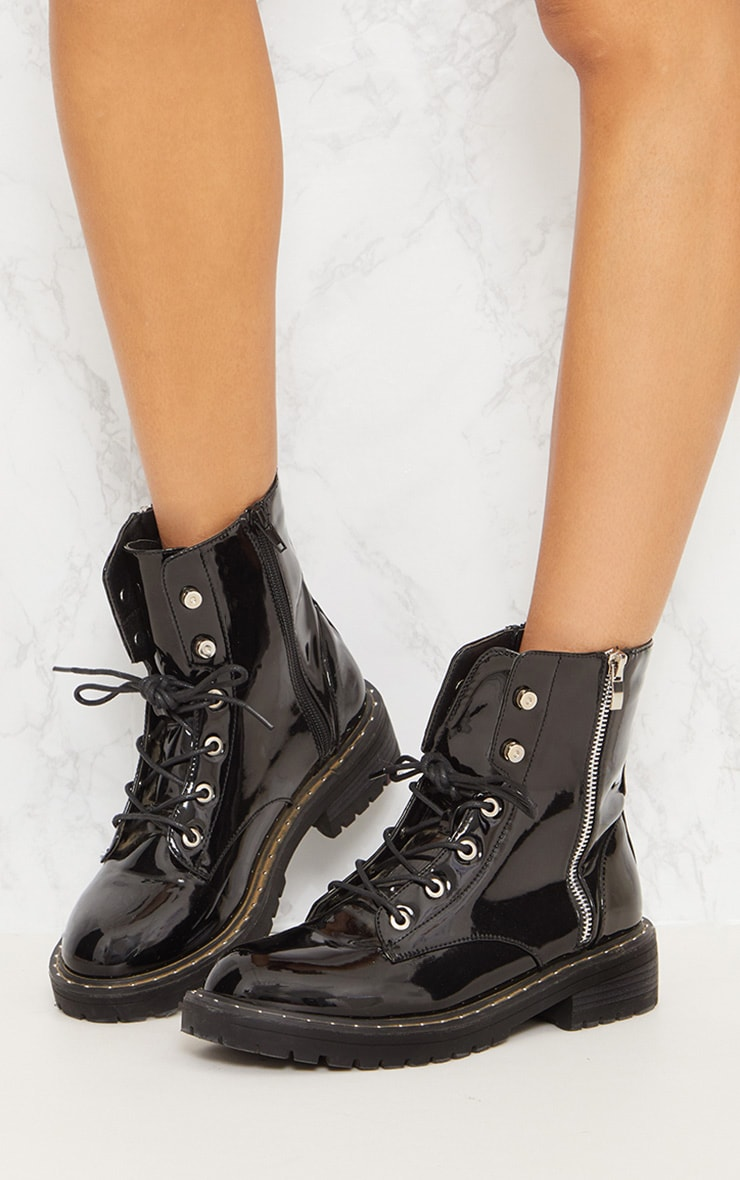 Black Chunky Lace Up Boot Shoes Prettylittlething