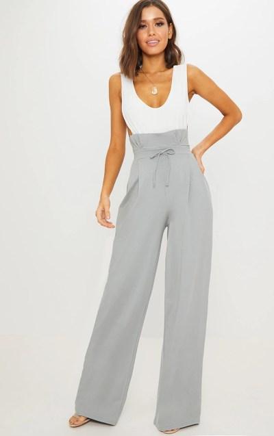 Grey Paperbag Wide Leg Trouser