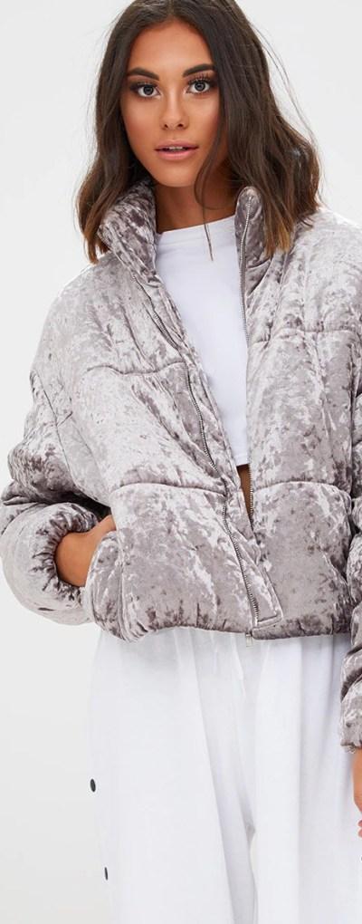 Grey Velvet Cropped Puffer Coat
