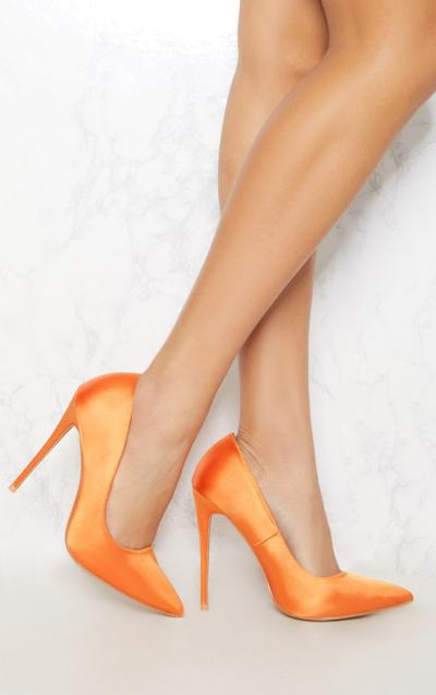 Tangerine Satin High Pointed Court