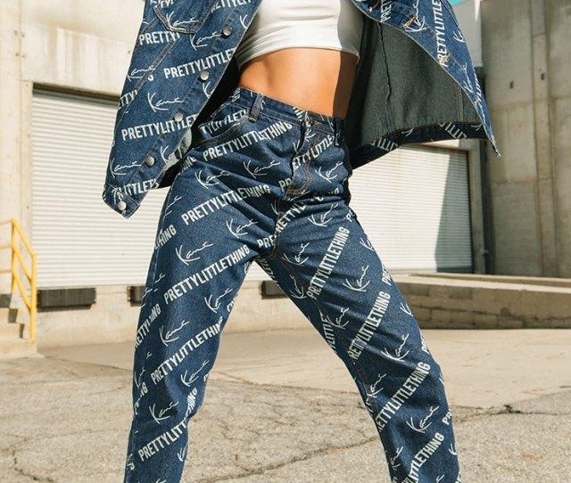 Karl Kani Blue Printed Straight Leg Jeans