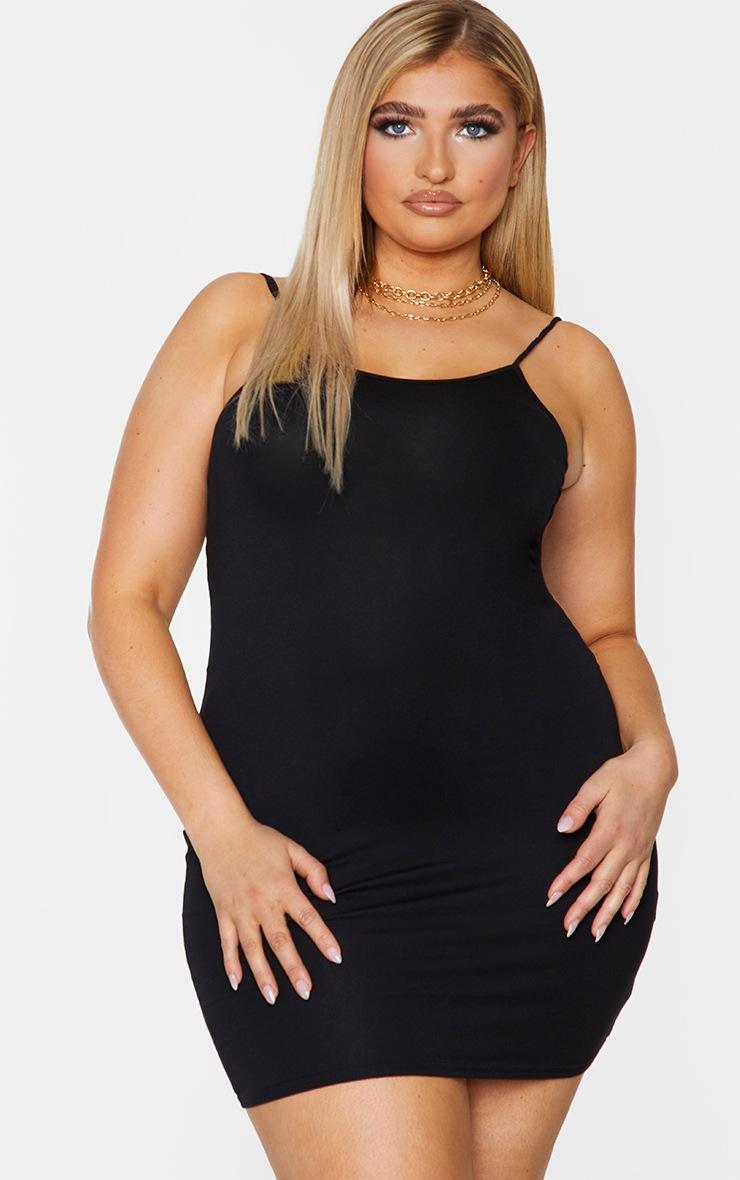 Plus Basic Black Strappy Bodycon Dress 2