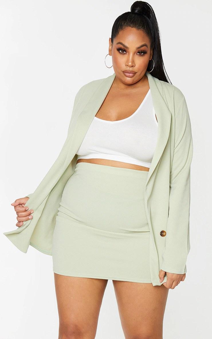 Plus Sage Green Mini Skirt 8