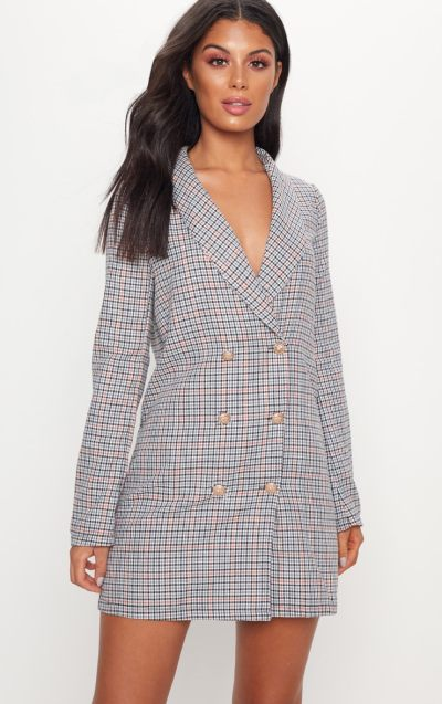Grey Dogtooth Gold Button Blazer Dress