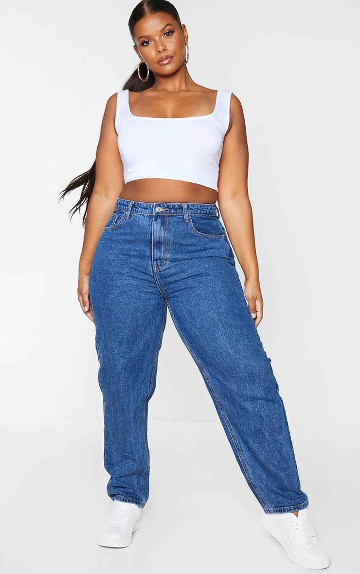 PRETTYLITTLETHING Plus Dark Blue Mom Jeans .00